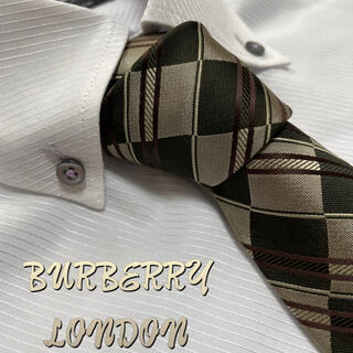 BURBERRY - バーバリーロンドン ネクタイ【未使用に近い】チェック柄 光沢 厚手