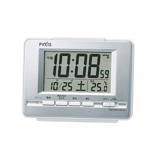 セイコー(SEIKO)のセイコー 電波目覚まし時計 シルバー 新品 送料無料 電池2本付(置時計)