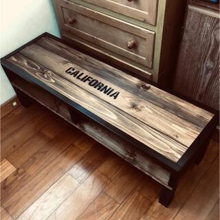 アンティークシンプル木目調センターテーブル  カルフォルニア カフェ風 木製(ローテーブル)