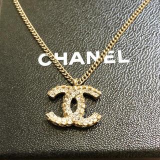 シャネル(CHANEL)の正規品 シャネル ネックレス ゴールド ココマーク 両面 ラインストーン 金 石(ネックレス)
