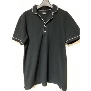 ザラ(ZARA)のZARA MAN デザイン ポロシャツ  Lサイズ 黒 白 ザラ マン メンズ(ポロシャツ)