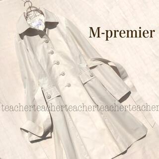 M-premier - コットン フレアーコート 白 ロングコート リボンベルト 白 綿 シンプル 素敵