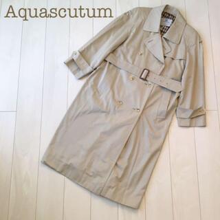 アクアスキュータム(AQUA SCUTUM)のAquascutumコットンロングトレンチコート ベージュ Aqua5春秋冬(トレンチコート)