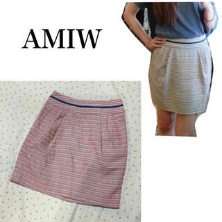 アミウ(AMIW)の美品 AMIW バナーバレット 系列 春服 刺し子 コクーン ミニスカート(ミニスカート)