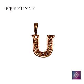 アイファニー(EYEFUNNY)のアイファニー ダイヤモンド アルファベット U  18KPG ピンクゴールド(ネックレス)