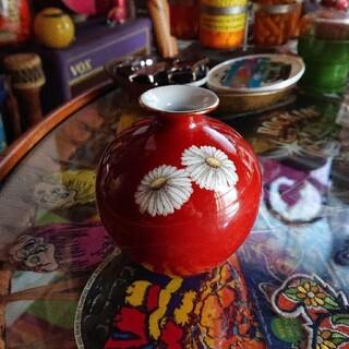 ノリタケ(Noritake)のオールドノリタケ  朱地白菊花瓶  一輪挿し(花瓶)