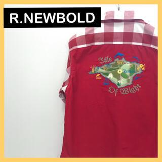 アールニューボールド(R.NEWBOLD)のR.NEWBOLD オープンカラーシャツ チェック柄 刺繍 キューバシャツ(シャツ)