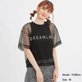 ジーユー(GU)のタグ付 GU シアーロゴT 5分袖 black Lサイズ(Tシャツ/カットソー(半袖/袖なし))