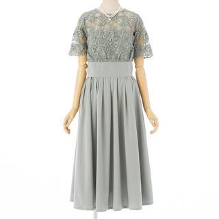ラグナムーン(LagunaMoon)のラグナムーン レースギャザードレス ミントグリーン(ミディアムドレス)