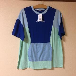 スピンズ(SPINNS)の ●新品 スピンズ カラフル Tシャツ 韓国ファッション   ブルー系   (Tシャツ/カットソー(半袖/袖なし))