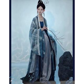 フリフ(ふりふ)の明灭海 紺銀 漢服4点セット 中国伝統衣装 和服着物 成人式結婚式 漢服(衣装一式)