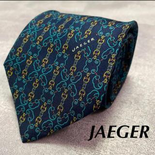 イエーガー(JAEGER)の【美品】JAEGER イエガー ネクタイ チェーン 金具柄 高級シルク(ネクタイ)