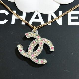 シャネル(CHANEL)の正規品 シャネル ネックレス クリア ココマーク マルチストーン ゴールド 石(ネックレス)