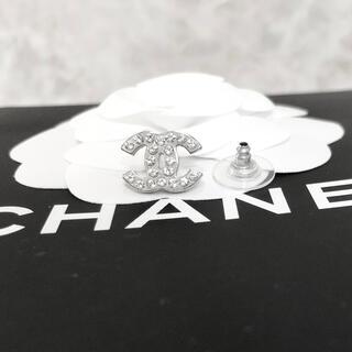 シャネル(CHANEL)の正規品 シャネル ピアス 片方 シルバー ココマーク ラインストーン 銀 ロゴ(ピアス)