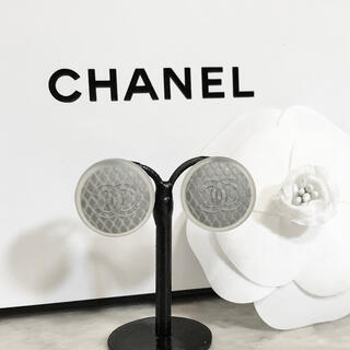 シャネル(CHANEL)の正規品 シャネル ピアス ラバー マトラッセ ココマーク ロゴ シルバー クリア(ピアス)