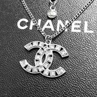 シャネル(CHANEL)の正規品 シャネル ネックレス シルバー ココマーク ラインストーン クリスタル(ネックレス)