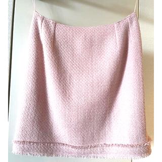 シャネル(CHANEL)のシャネル ツイードスカート 38 薄ピンク色 ミニお直し(ミニスカート)