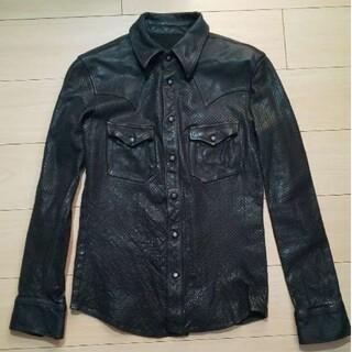 イサムカタヤマバックラッシュ(ISAMUKATAYAMA BACKLASH)の未使用 backlash 製品染めレザーシャツ 定価181500円(レザージャケット)