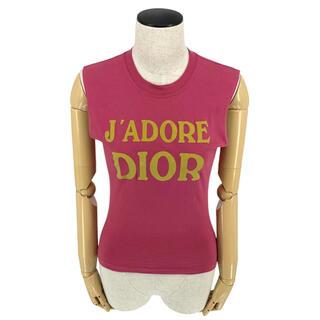 クリスチャンディオール(Christian Dior)のChristian Dior☆ タンクトップ ロゴ コットン ピンク イエロー(タンクトップ)