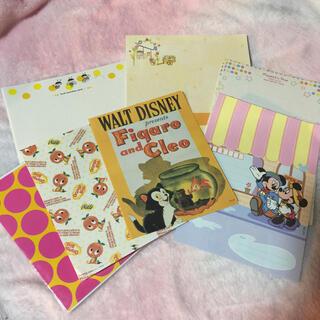 ディズニー(Disney)の便せん封筒レターオレンジセット ディズニー 手紙メッセージカードミッキーミニー(カード/レター/ラッピング)