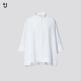 ユニクロ(UNIQLO)のスーピマコットンドルマンスリーブシャツ M ホワイト(シャツ/ブラウス(長袖/七分))