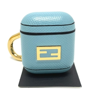 フェンディ(FENDI)の美品 フェンディ 7AR816 スネークスキン イヤホンケース ロゴ ブルー(その他)