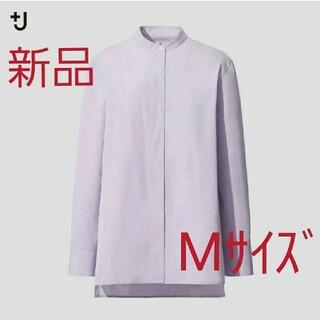 ユニクロ(UNIQLO)の新品ユニクロ スーピマコットンスタンドカラーシャツ M パープル(シャツ/ブラウス(長袖/七分))