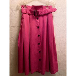 アラマンダ(allamanda)の濃いピンク フレアスカート トレンチスカート allamanda アラマンダ(ひざ丈スカート)