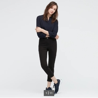ユニクロ(UNIQLO)のユニクロ クロップドパンツ XXL 黒 ワイドジーンズ 2枚セット(クロップドパンツ)
