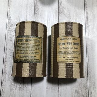 リメイク缶 ストライプ ブラウン2個セット(プランター)