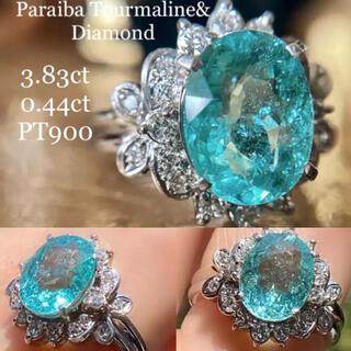 大粒✨3.83ctオーバルファンシーカットパライバトルマリンダイヤモンドリング(リング(指輪))