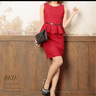 リュリュ(RyuRyu)の美ラメツイードペプラムワンピース ドレス(ナイトドレス)