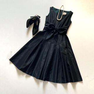 シビラ(Sybilla)の極美品✨シビラ 上質タフタワンピース 黒 フォーマルドレス リボン ブラック S(ひざ丈ワンピース)