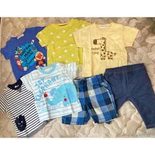 ニシマツヤ(西松屋)の西松屋 アンパンマン  Tシャツ5点 パンツ2点 80cm(Tシャツ/カットソー)