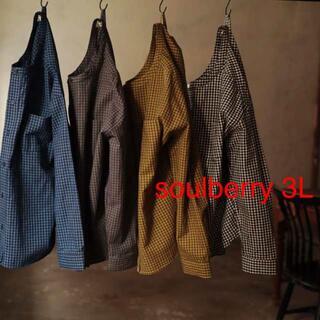 ソルベリー(Solberry)のsoulberry 3L コットンリネン とことん遊ぶ夏のチェックシャツ(シャツ/ブラウス(長袖/七分))