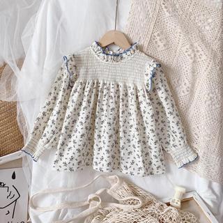 プティマイン(petit main)のベビー ブラウス チュニック フリル 花柄 80 90 100  女の子 春服(シャツ/カットソー)