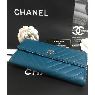シャネル(CHANEL)のmaron様専用♡超美品♡  シャネル Vステッチ 長財布 スタッズ 正規品(財布)