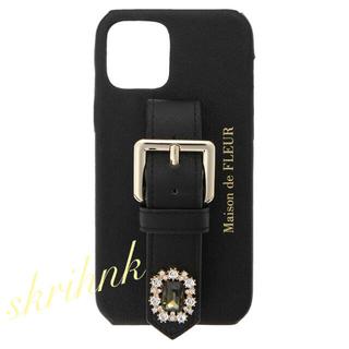 メゾンドフルール(Maison de FLEUR)の♡メゾンドフルール♡ビジューベルトiPhone12ケース♡黒♡ジルスチュアート(iPhoneケース)
