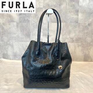 フルラ(Furla)の【FURLA】フルラ クロコ型押し トートバッグ ブラック レザー イタリア製(トートバッグ)