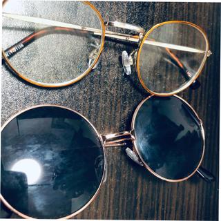 ジーユー(GU)のブルーライトカットメガネGUと黒丸メガネセット(サングラス/メガネ)