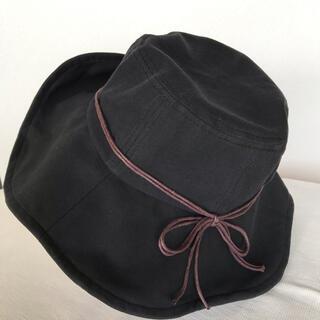 折りたためるUVカット ブラック レディース日よけ帽子(ハット)
