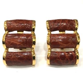 ロエベ(LOEWE)のロエベ 大ぶり クリップ式 イヤリング アクセサリー 耳飾り クロコ調 ブラウン(イヤリング)