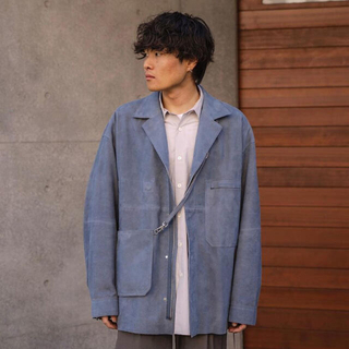 サンシー(SUNSEA)のyoke 21ss suede cut-off shirt jacket(レザージャケット)