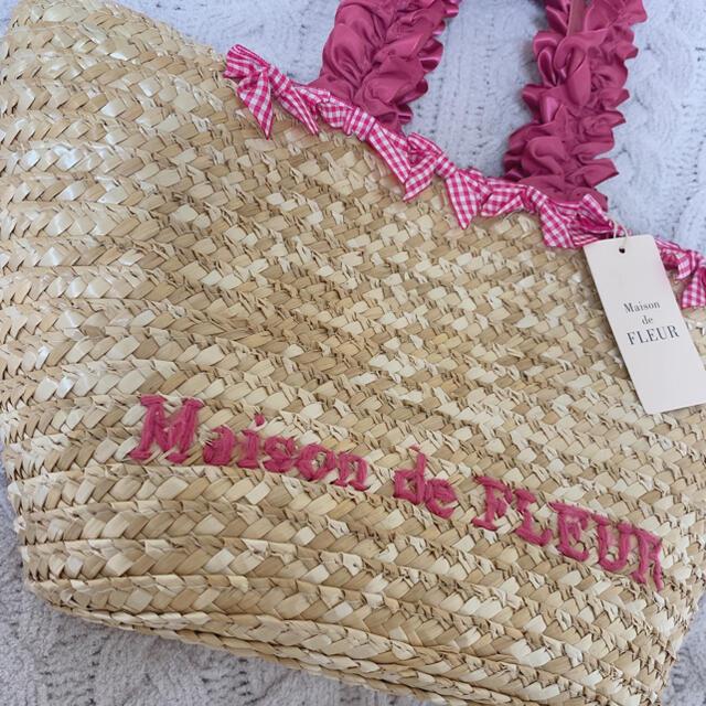 Maison de FLEUR(メゾンドフルール)の新品 メゾンドフルール かごバッグ ギンガムチェック レディースのバッグ(かごバッグ/ストローバッグ)の商品写真