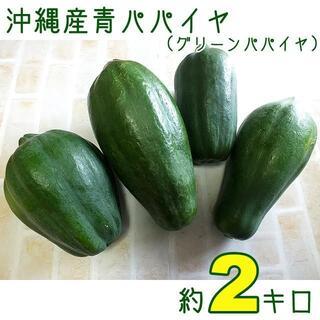 【送料込】沖縄産青パパイヤ約2キロ│グリーンパパイヤでソムタムなどにいかが?(野菜)