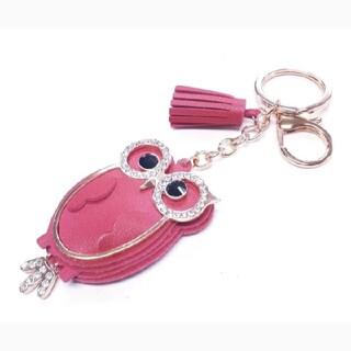 レッドピンクのフクロウモチーフバッグチャームキーホルダー(キーホルダー)