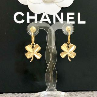 シャネル(CHANEL)の正規品 シャネル ピアス フープ クローバー 金 ココマーク 四つ葉 ゴールド (ピアス)
