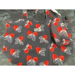 カルディ(KALDI)のカルディ いちごバッグ エコバッグ ドリンクホルダー 2個セット(エコバッグ)