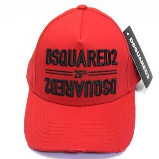 ディースクエアード(DSQUARED2)の新品 ディースクエアード ロゴ キャップ ベースボール 帽子 赤 レッド 加工 (キャップ)