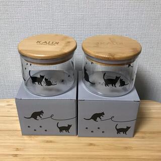 カルディ(KALDI)の【新品】カルディ ネコの日 ガラスキャニスター (収納/キッチン雑貨)
